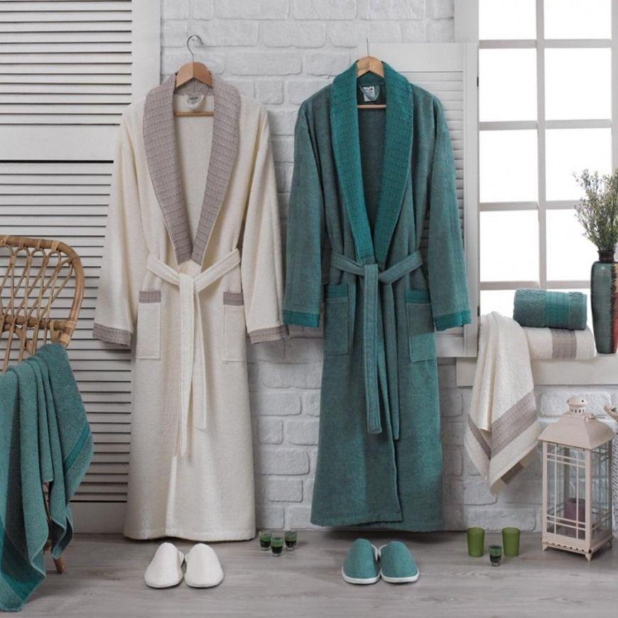 طقم أرواب استحمام جريك كريمي و أخضر عدد القطع 10 Robe Bathrobe Fashion