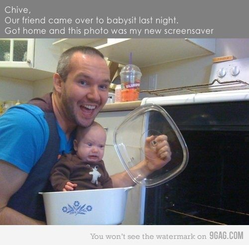 the baby's face is priceless