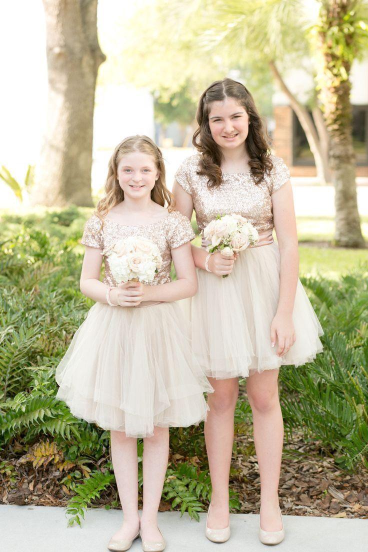 Rose Gold Sequins 2015 Junior Bridesmaid Dresses Jewel Short Sleeves ... f12aefd92b88