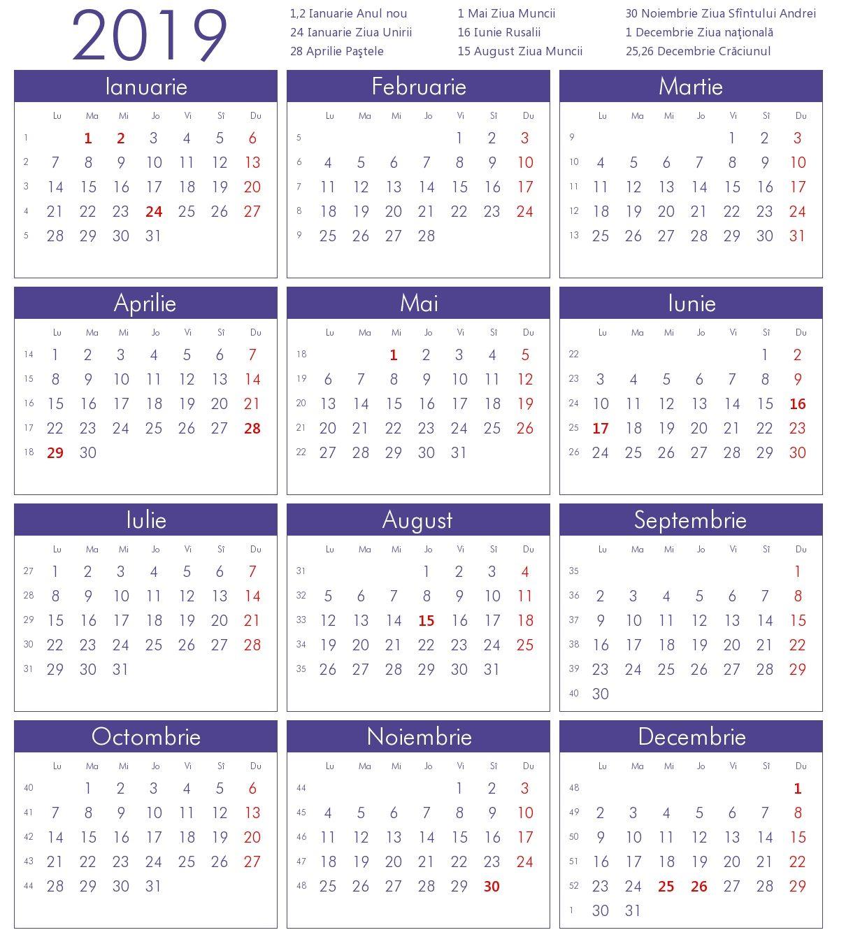Cu Calendar 2021 Calendar 2019 Cu Sarbatori Legale Romania Free | Marketing