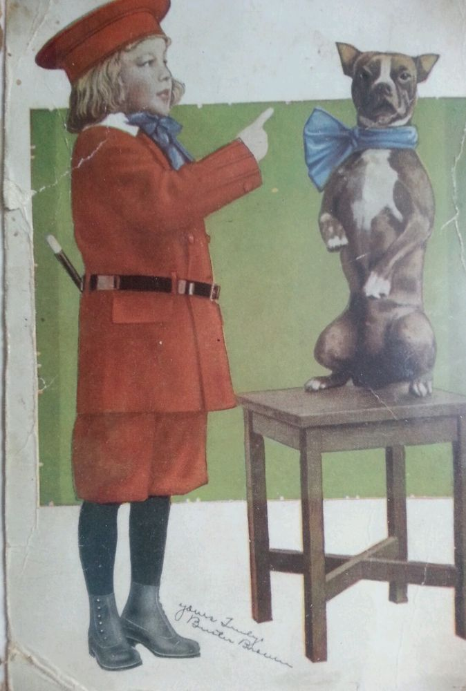 Old Postcard Of Buster Brown And His Dog Signed Yours Truly