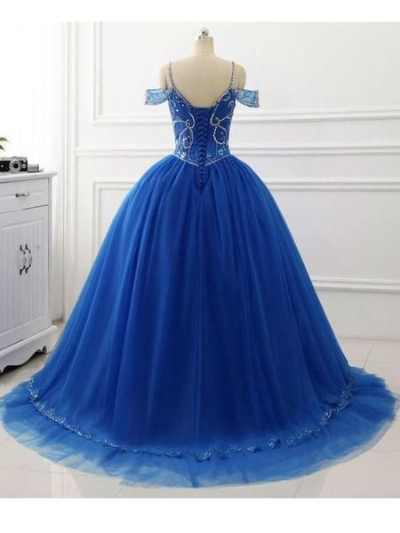 cd88348a161 Off the Shoulder Royal Blue Quinceanera Dresses Beaded Prom Dress ARD1345- SheerGirl