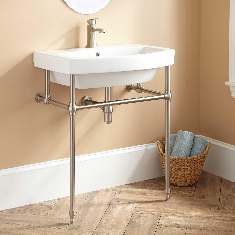 brass stand console bathroom sink