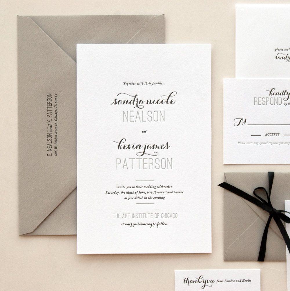 Ribbon around envelope letterpress invitations wedding sample