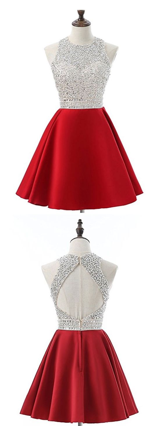 Aline silver beaded top red satin halter homecoming dresses apd