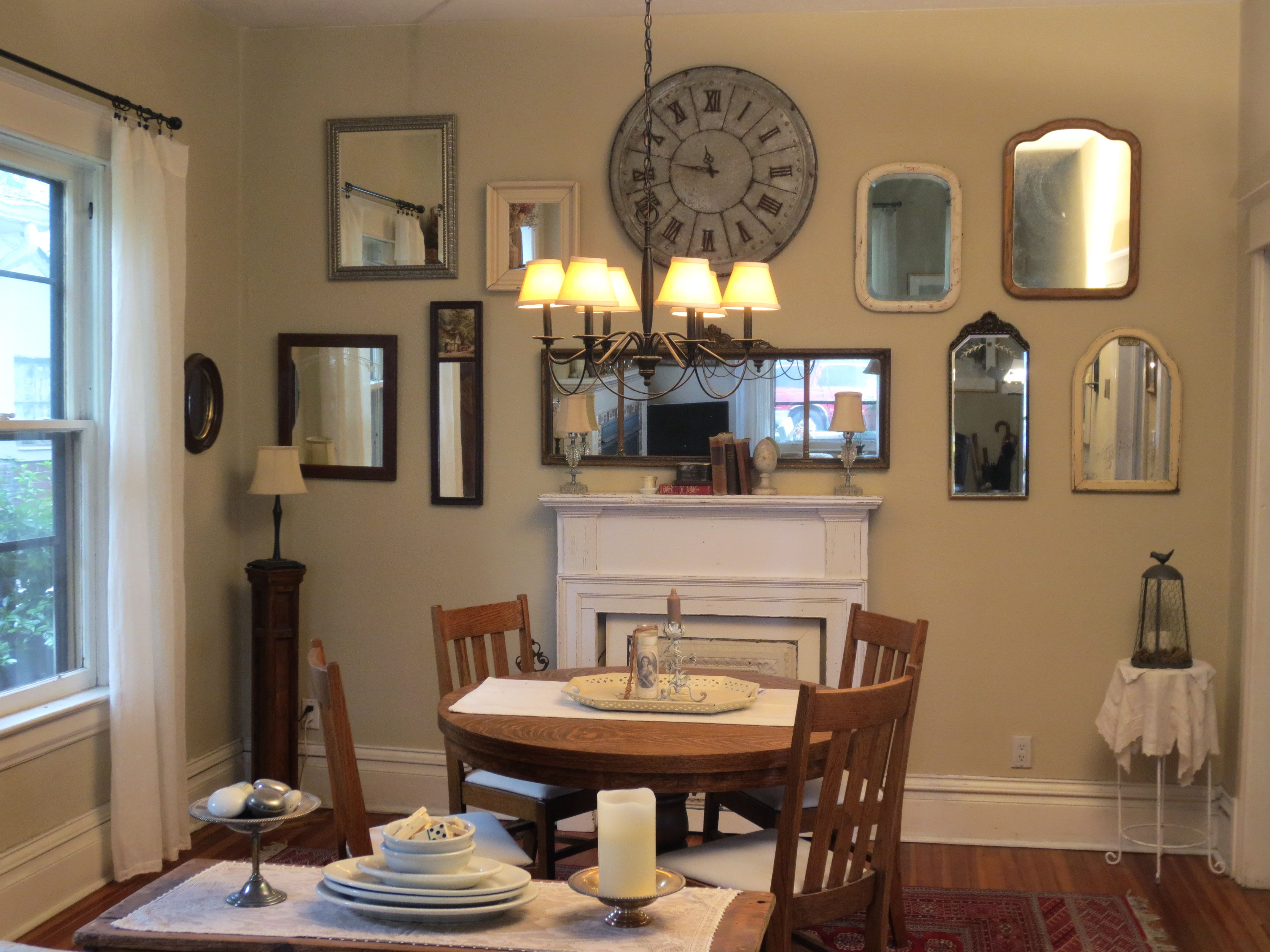 Charming French Country Dining Room With Wall Of Mirrors - Charming french country decor