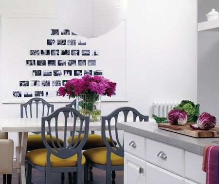 black and white photo collage in the dining area| House & Home