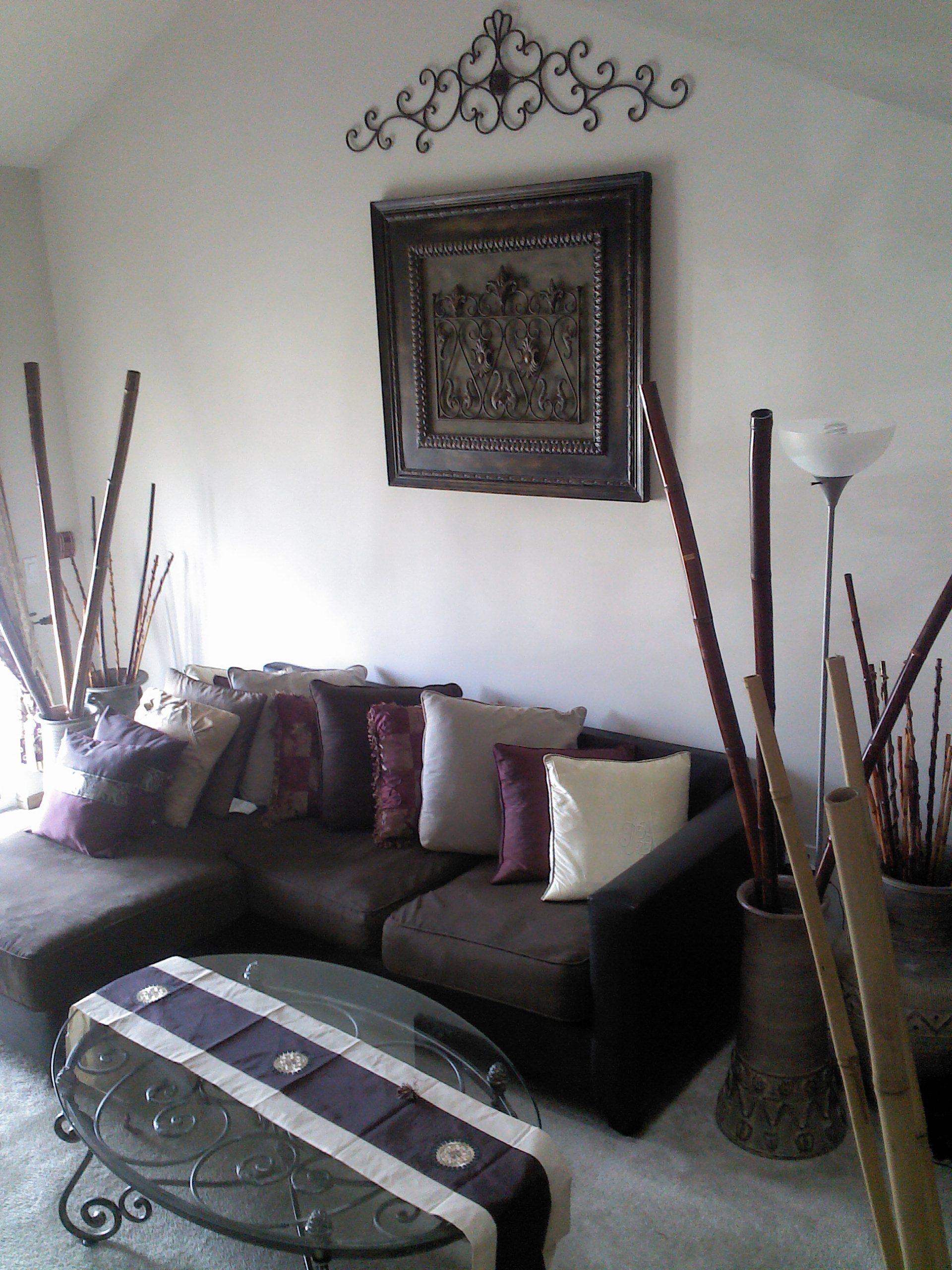 Living Room Wrought Iron Scroll Wall Decor Vases, Bamboo Sticks