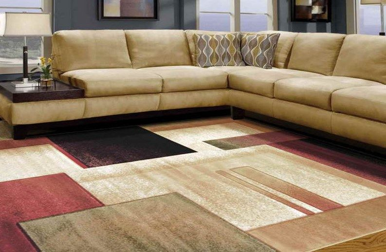 Large Living Room Rug In Dark Red Beige And Brown Colors