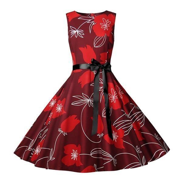 Womens New Summer Dresses Women Robe Elegant Vintage Retro Swing Rockabilly Dress High Waist Floral Runway Sundress Tunic