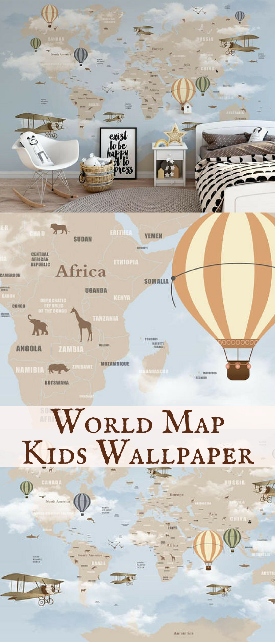 I wish I had this world map wallpaper on my bedroom wall when I was ...