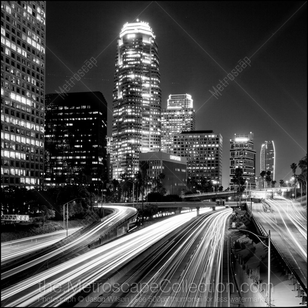 Black And White Photos Of Downtown La At Night From Fourth Street Metroscap Com White Canvas Art Skyline Picture Black And White Pictures