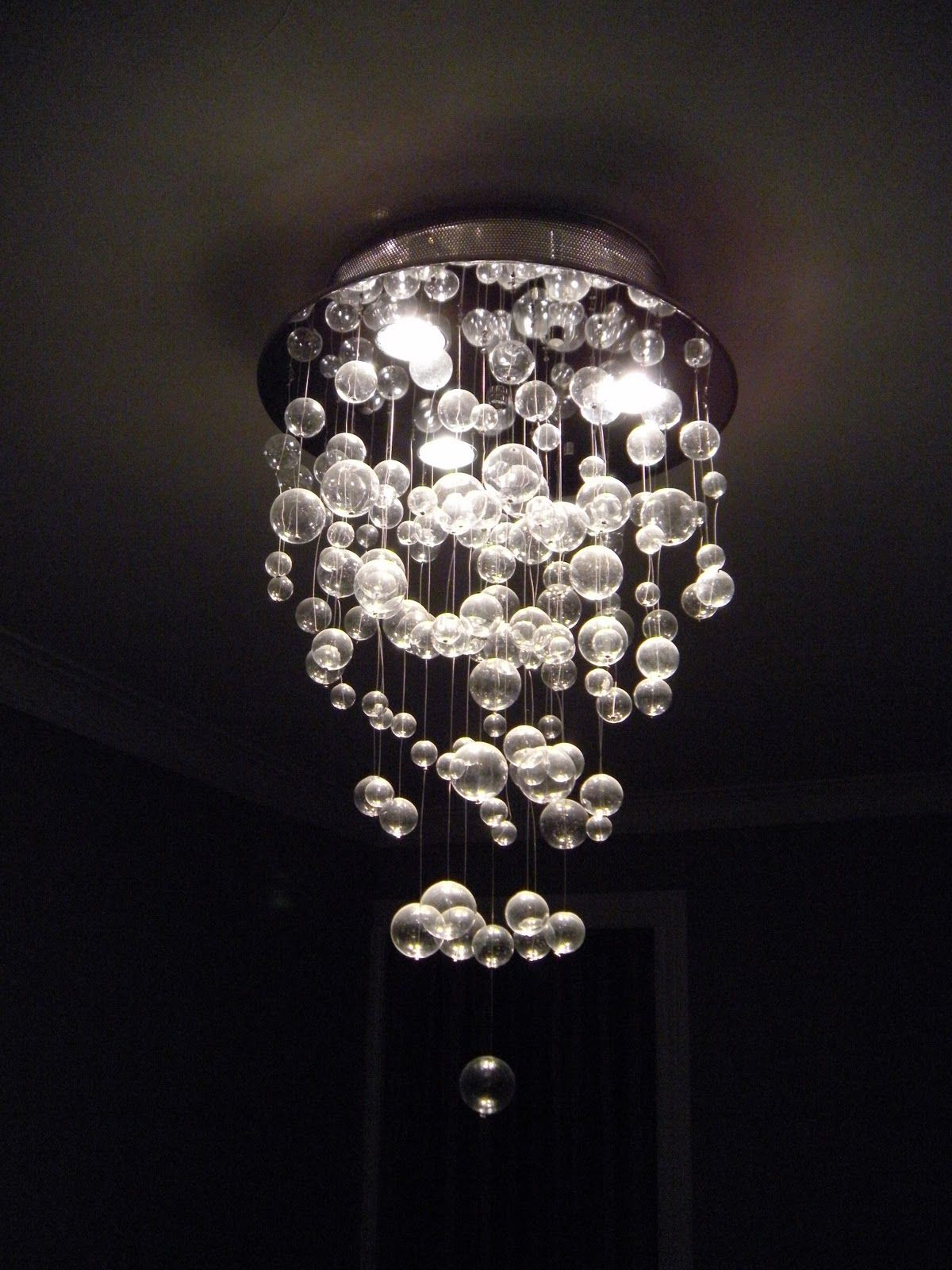 Lightings Charming Glass Bubble Chandelier With Round Holder In Chrome As Modern Ceiling Lights Fixtures Ideas Lavish Lighting Artworks