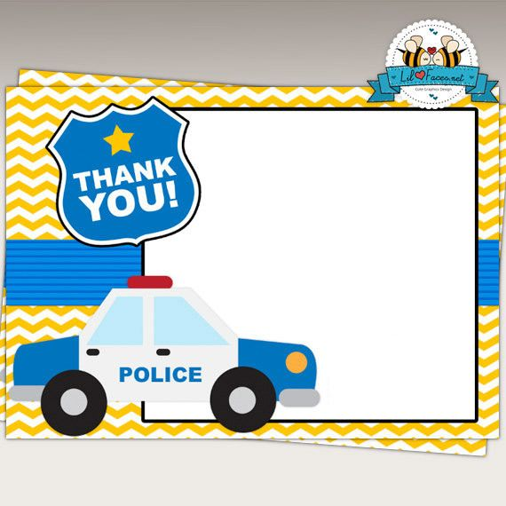 Police Birthday Party Thank You Cards Instant Download Police Birthday Party Police Birthday Thank You Cards