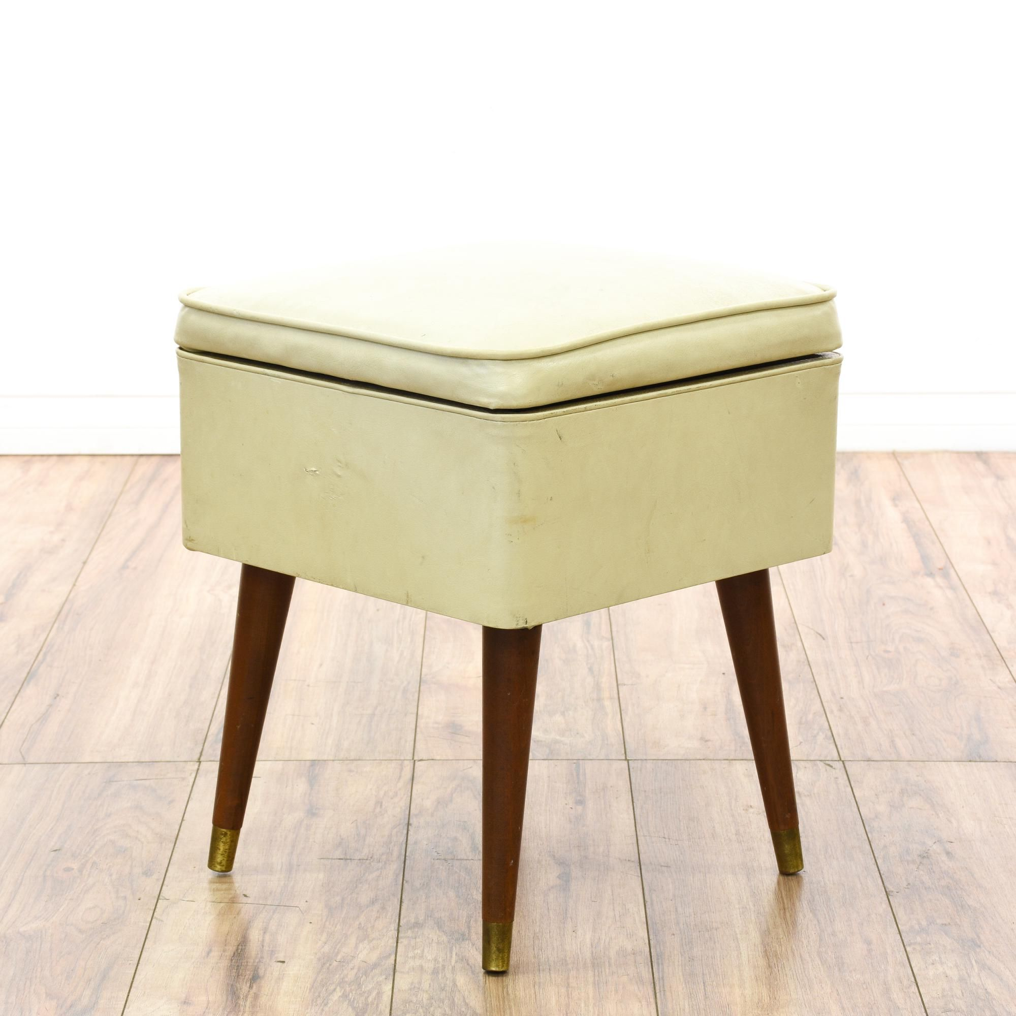 This Mid Century Modern Storage Ottoman Is Upholstered In A Durable Vinyl  In An Off White