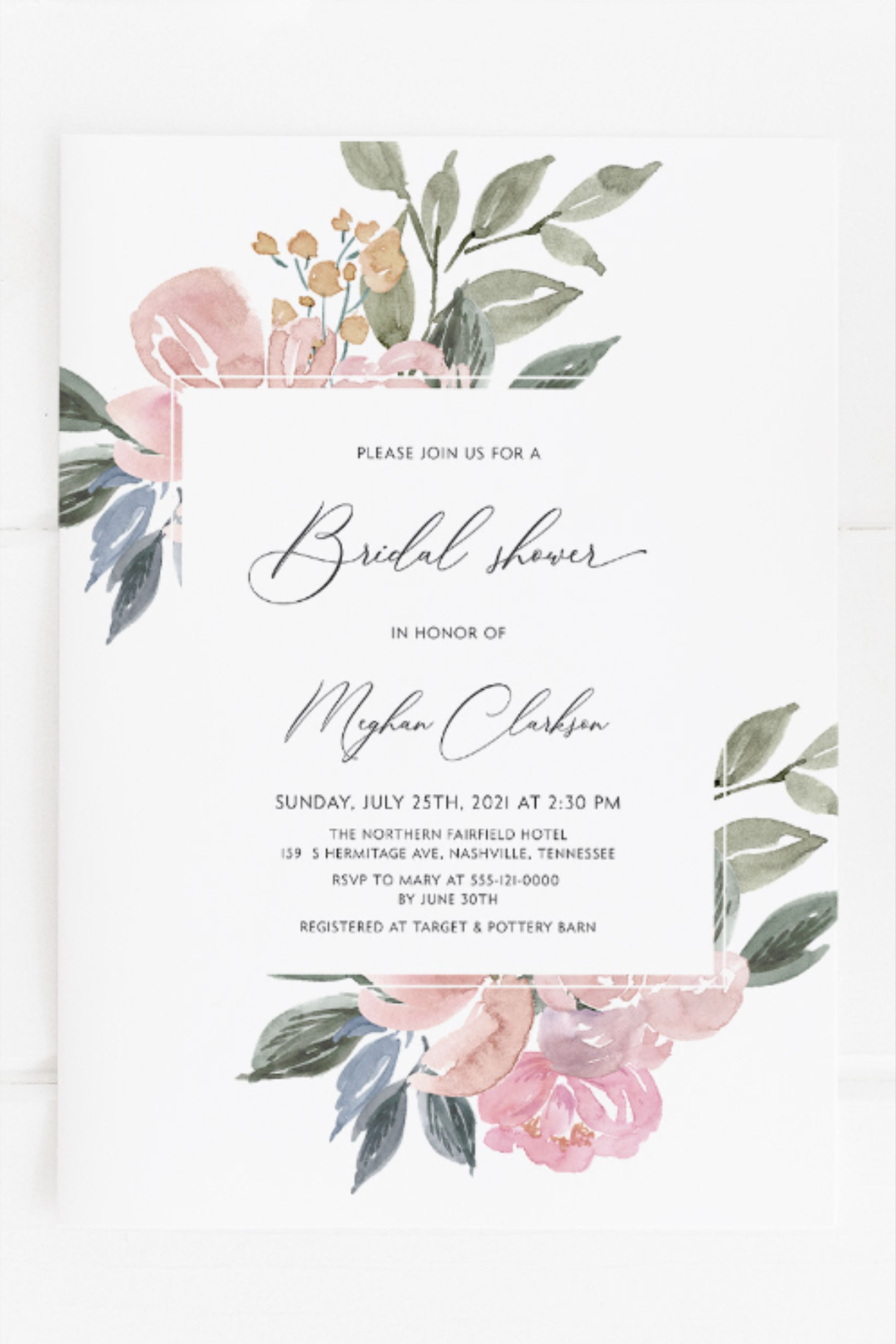 Blush Pink Floral Bridal Shower Invitation Template Bridal  Etsy