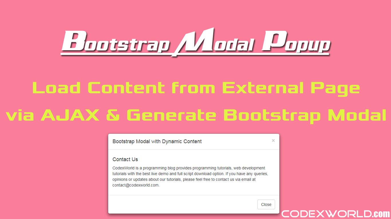 How to Load Dynamic Content in Bootstrap Modal | Web Development