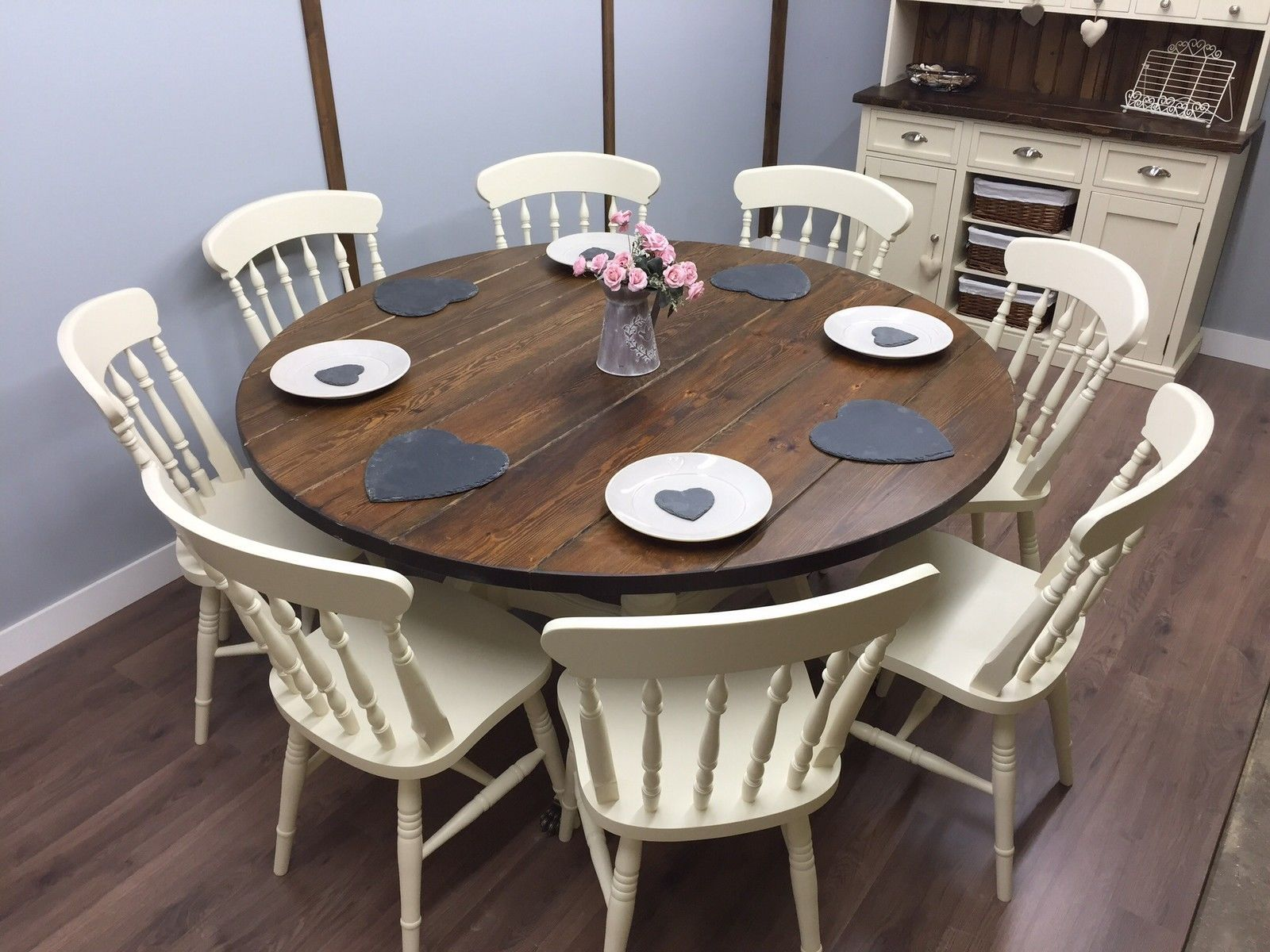 large round farmhouse table and chairs 6 8 seater shabby chic delivery available ebay. Black Bedroom Furniture Sets. Home Design Ideas