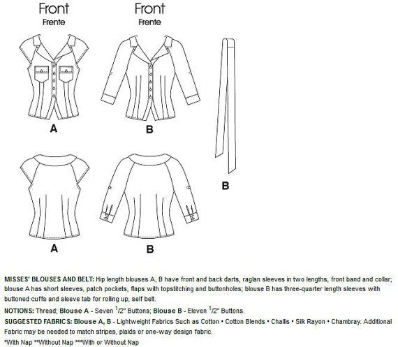 Belted raglan shirt blouse McCall's sewing pattern by Iam4uk