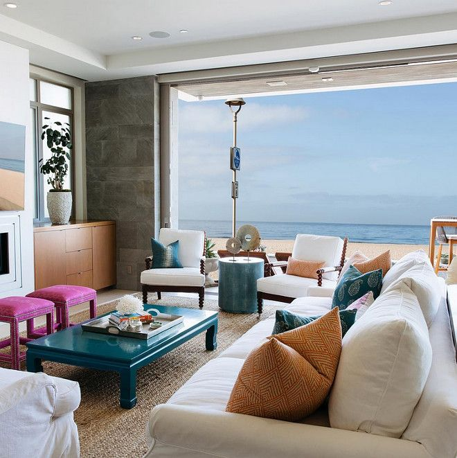 California beach house living room with clean lines pops of color texture and an amazing ocean Interior design ideas for beach home