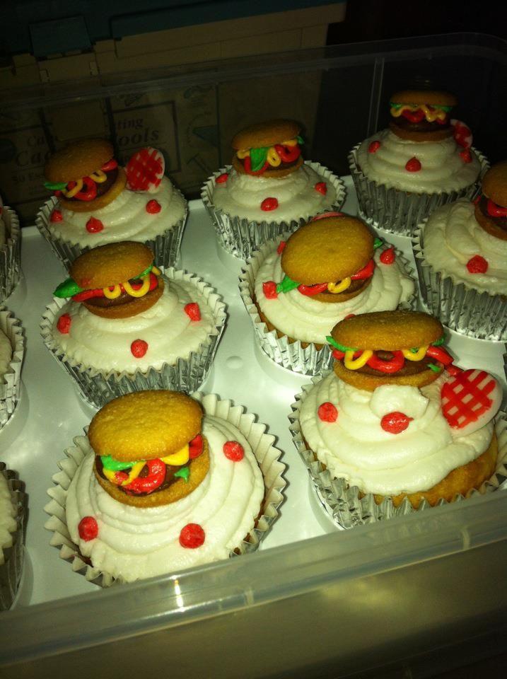 "Hamburger cupcake toppers. I used mini vanilla wafers and buttercream to make these mini ""burgers""."