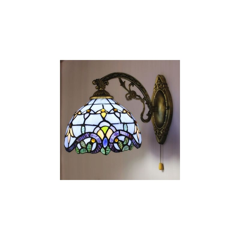 Tiffany Wall Light Blue Baroque Stained Glass Tiffany One Light Wall Sconce With Pull Chain Glass Wall Sconce Wall Sconce Lighting Large Candle Wall Sconces