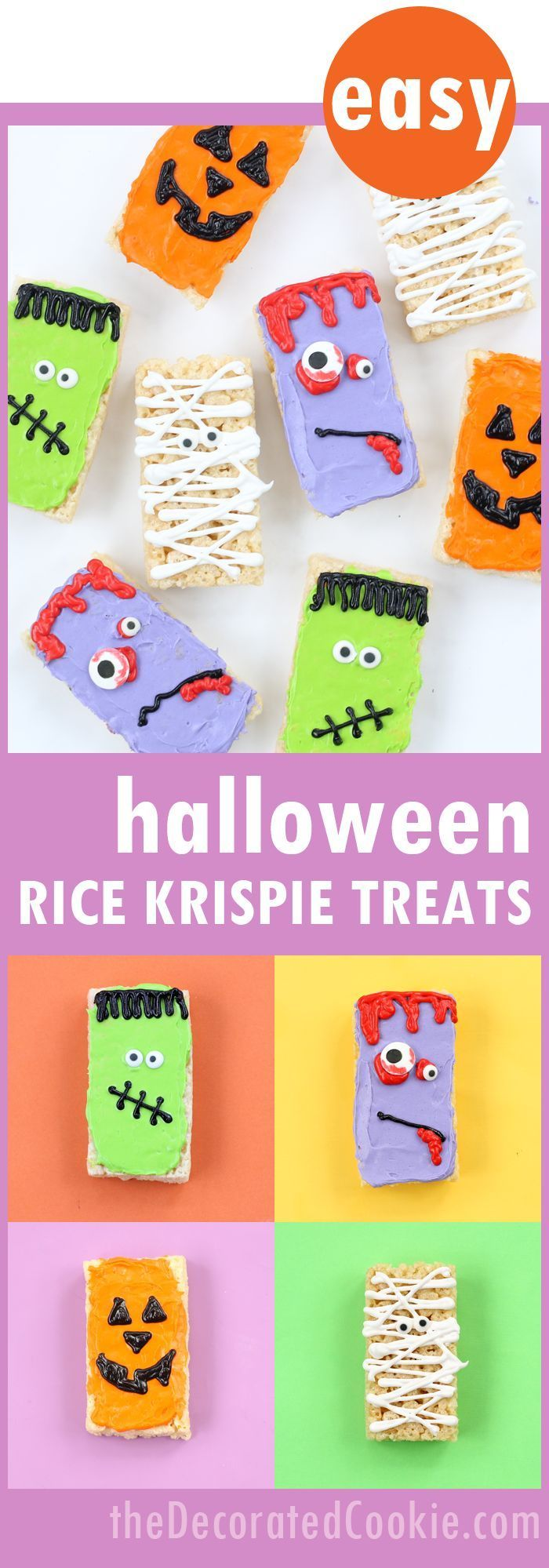 Halloween Rice Krispie Treats ideas #halloweenricekrispietreatsideas EASY Halloween Rice Krispie Treats 4 ways! Use store-bought frosting and treats for a quick Halloween dessert idea. #halloweenricekrispietreatsideas