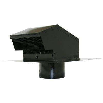 4 In Galvanized Flush Roof Cap In Black With Removable Screen Backdraft Damper And 4 In Collar Roof Cap Backdraft Galvanized