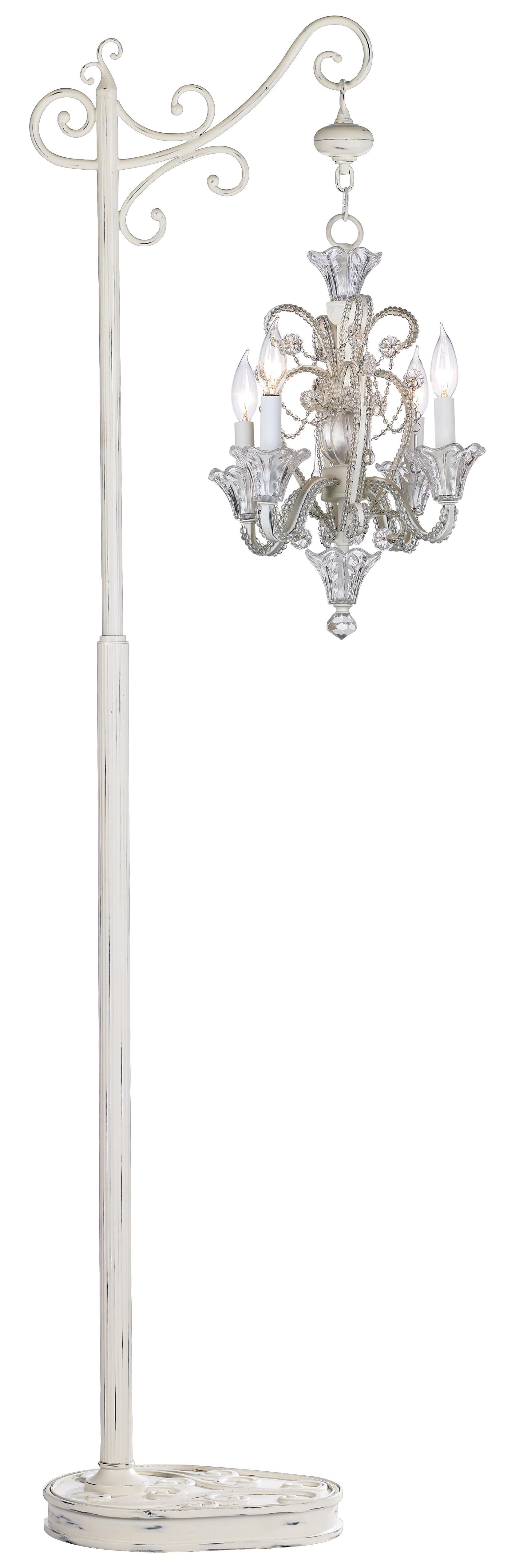 Four light white beaded floor stand chandelier oh baby four light white beaded floor stand chandelier aloadofball Image collections