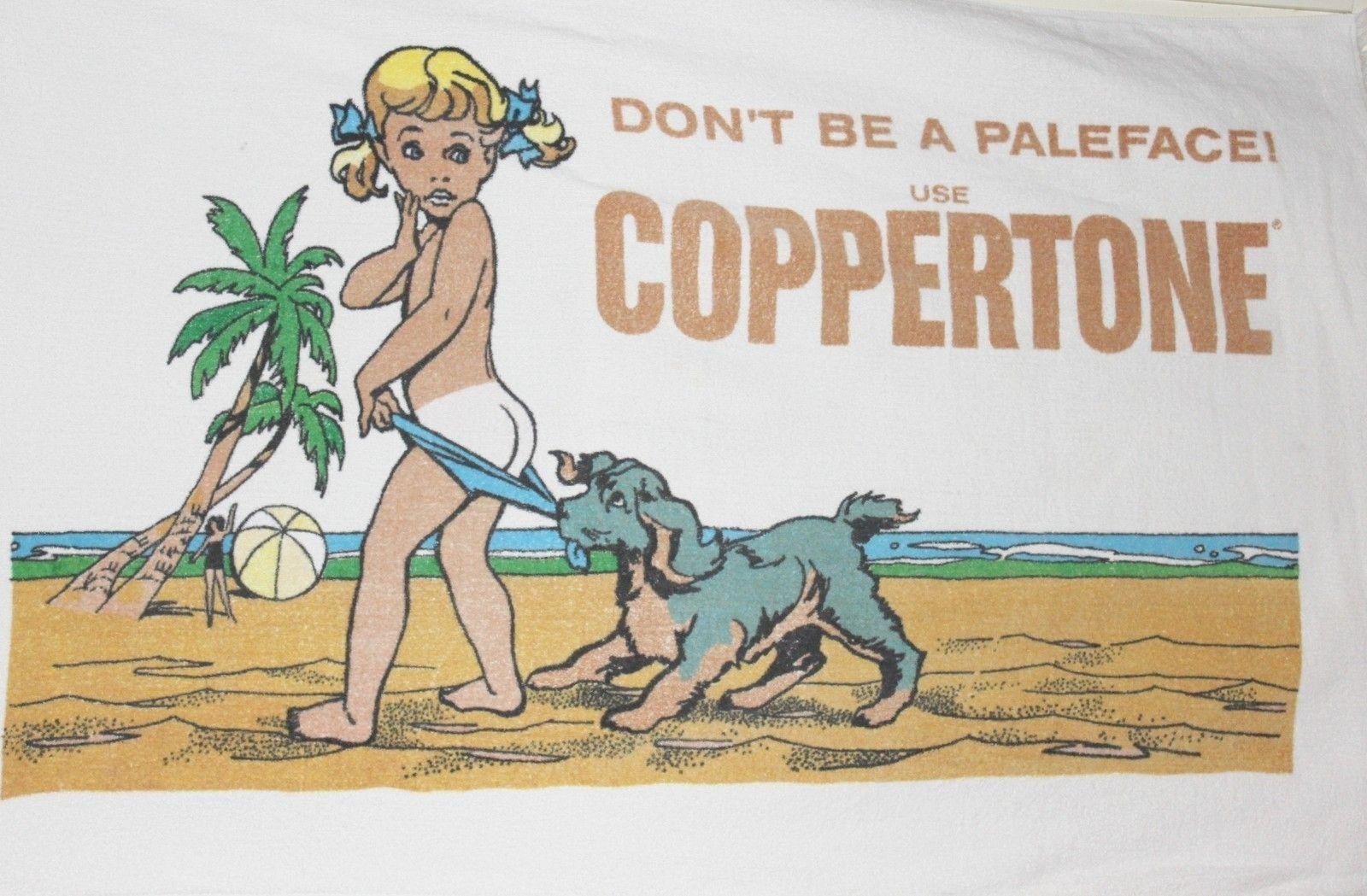 Vintage Retro Coppertone suntan lotion beach towel promo DONT BE A PALE FACE