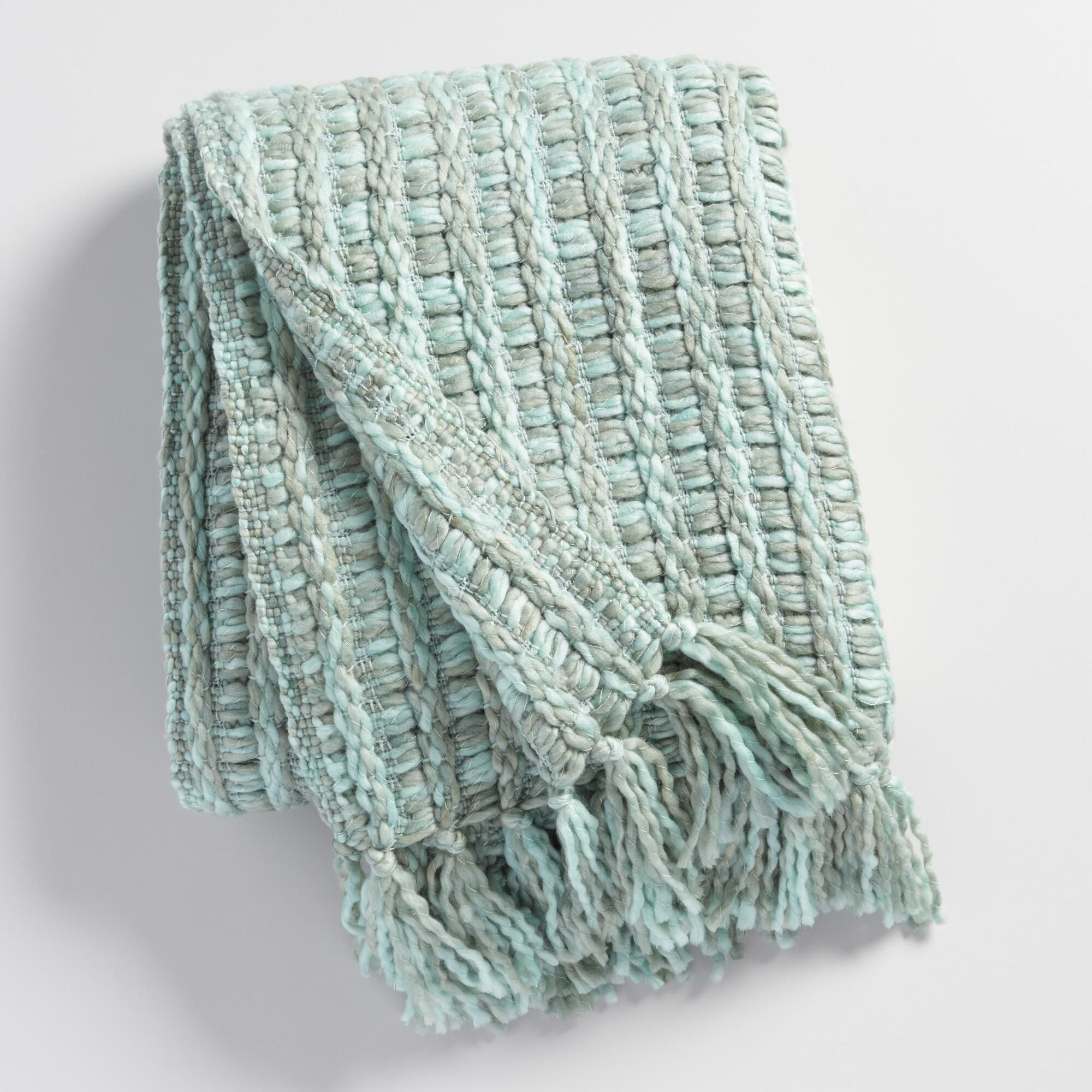 Frost Blue Knit Throw Blanket Green By World Market In