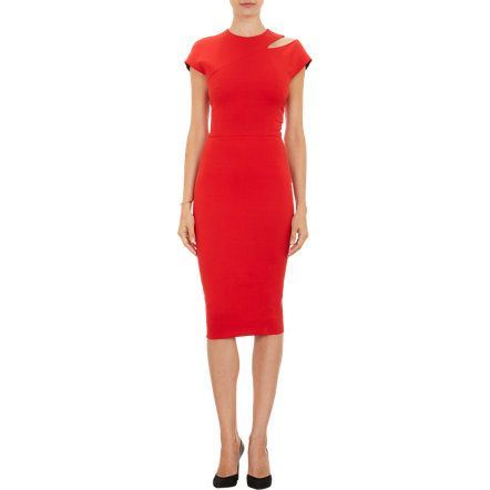 Victoria Beckham Cutout-Shoulder Sheath Dress at Barneys.com