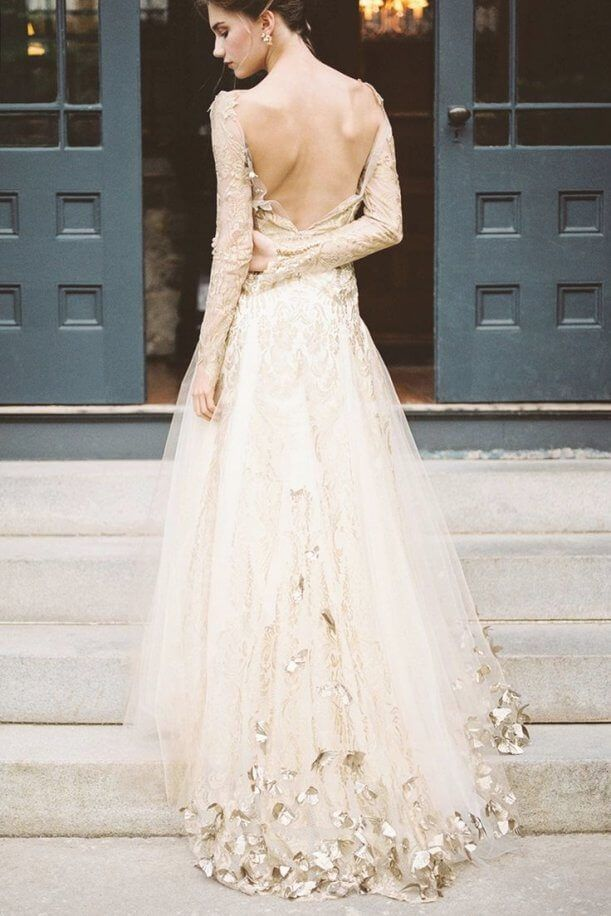 Best 30 Beautiful White Wedding Dress Gold Embroidery | Pinterest ...