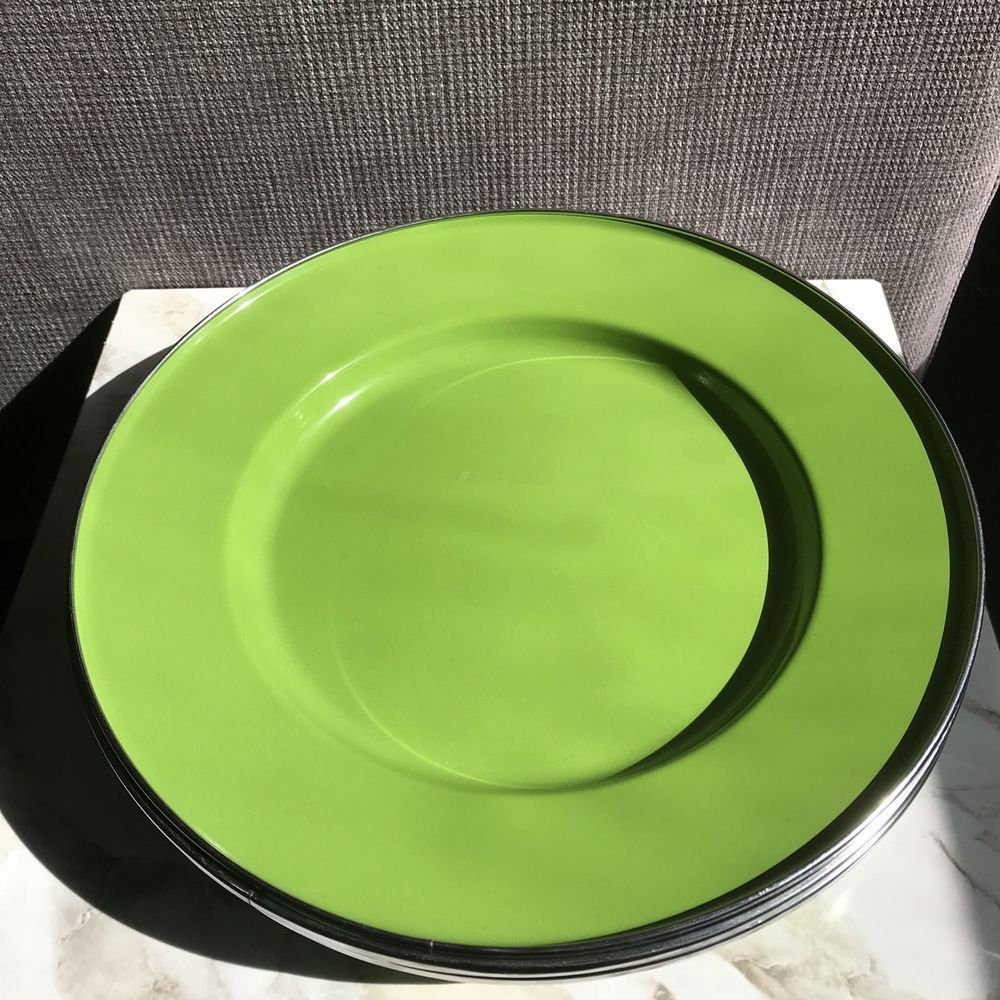 Pottery Barn Partyware 6 Lime Green Metal Tin Enameled