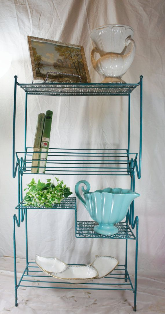 wire plant stand book shelf turquoise mid century stand by gleaned ...