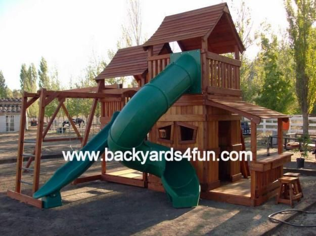 Redwood Play Structure Spiral Slide Monkey Bar Playhouse Do It