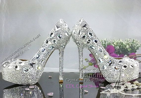 Wedding Shoes unique design platform pumps by HandmadeCrystalShoes