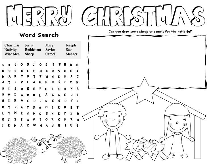 christmas coloring pages for childrens church | christmas placemats, free printable christmas games ...