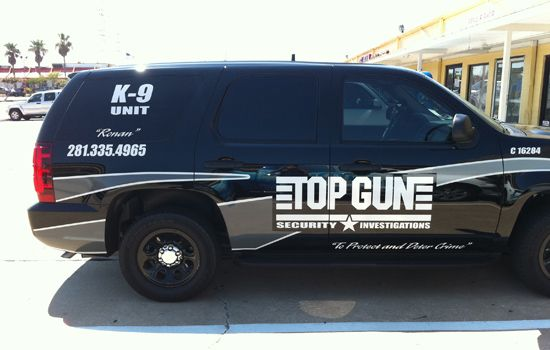 Vehicle Lettering Top Gun Security Houston Texas Designed - Custom decal graphics on vehiclesvinyl car wraps in houston tx