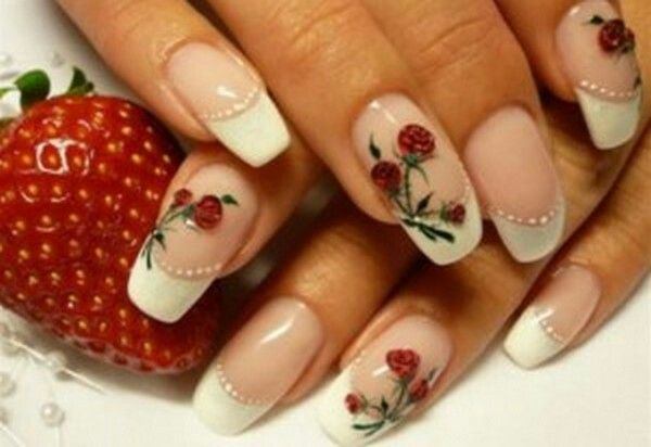 Frances Con Rosas Rojas Unas Pinterest Ongles Rose Ongles