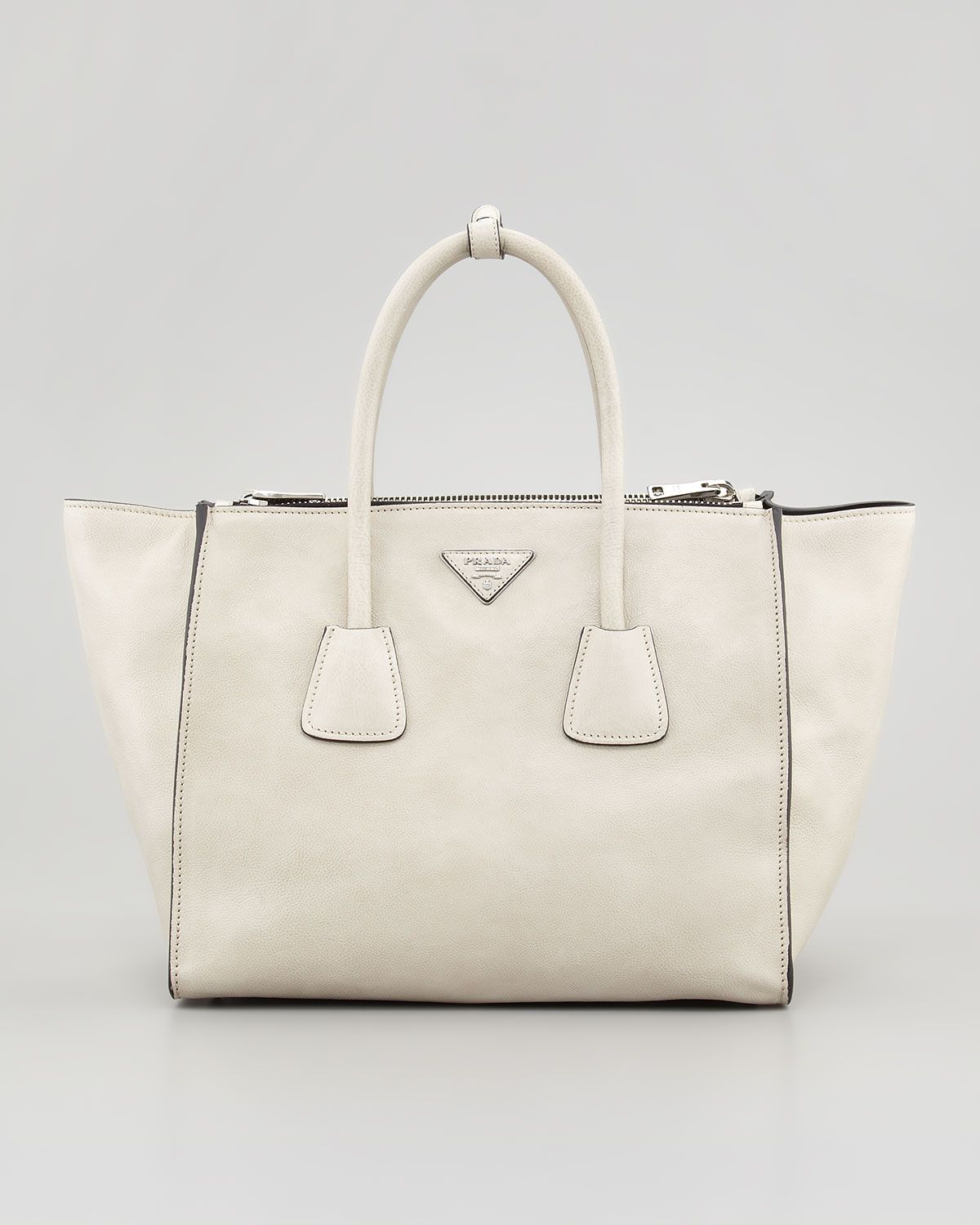 112c34eb279e Prada Glace Calf Twin Pocket Tote Bag, Off White - Bergdorf Goodman ...