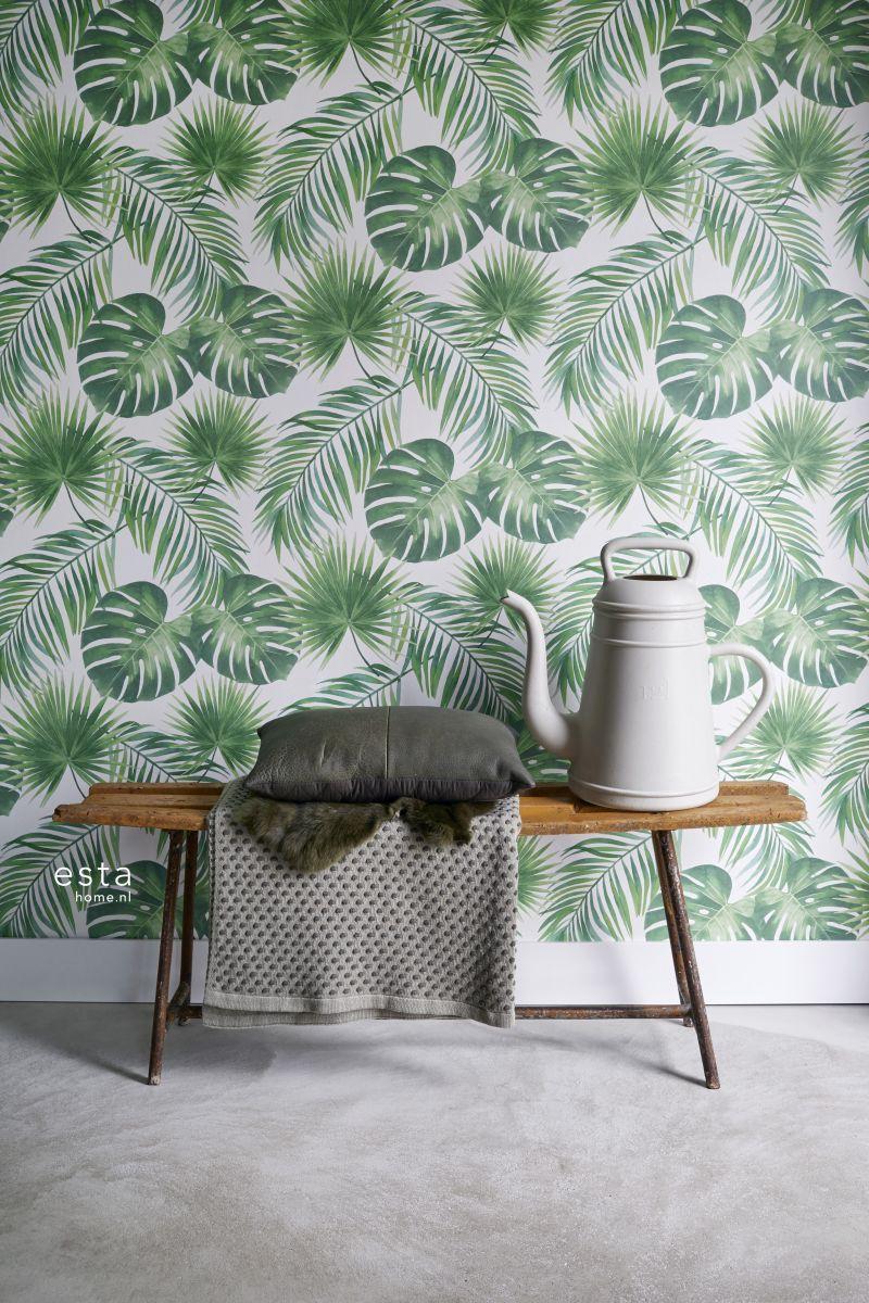 Met Dit Behang Met Tropische Bladeren In Groen Creëer Je