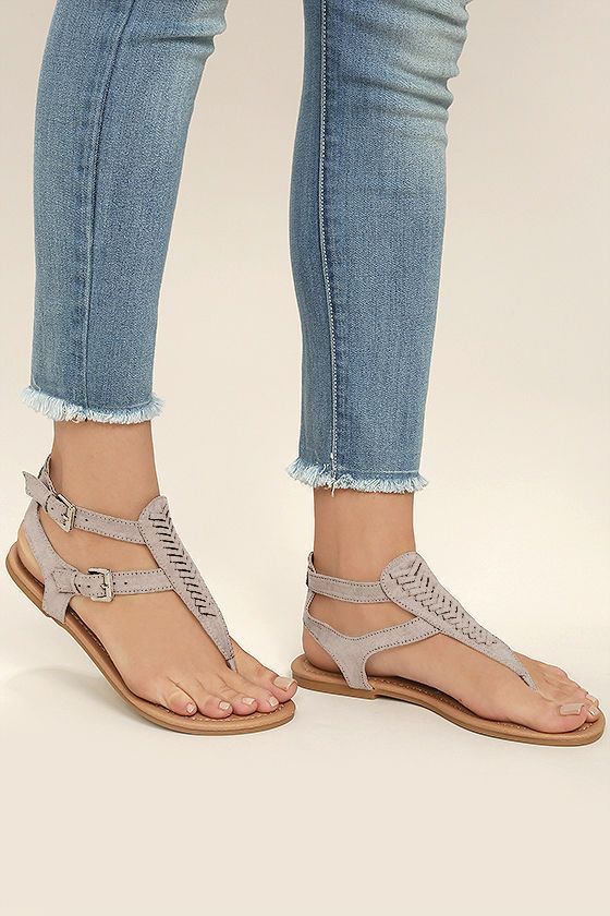 Festi-Val Suede Flat Sandals I983Q7Yoc