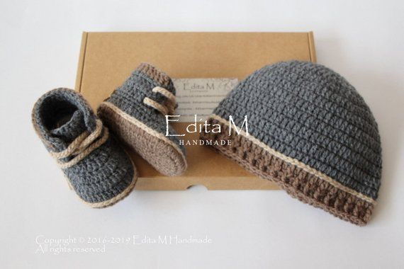 Photo of Crochet baby set, unisex baby booties, baby boy shoes, work boots, baby boy sneakers, baby hat, baby beanie, 0-3, 3-6 months, baby shower