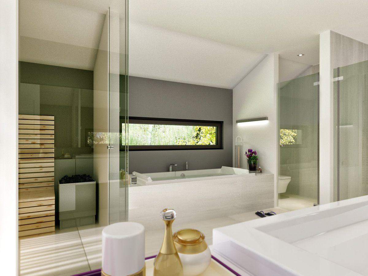 Wellness-Badezimmer mit Sauna und Glastrennwänden - Inneneinrichtung ...