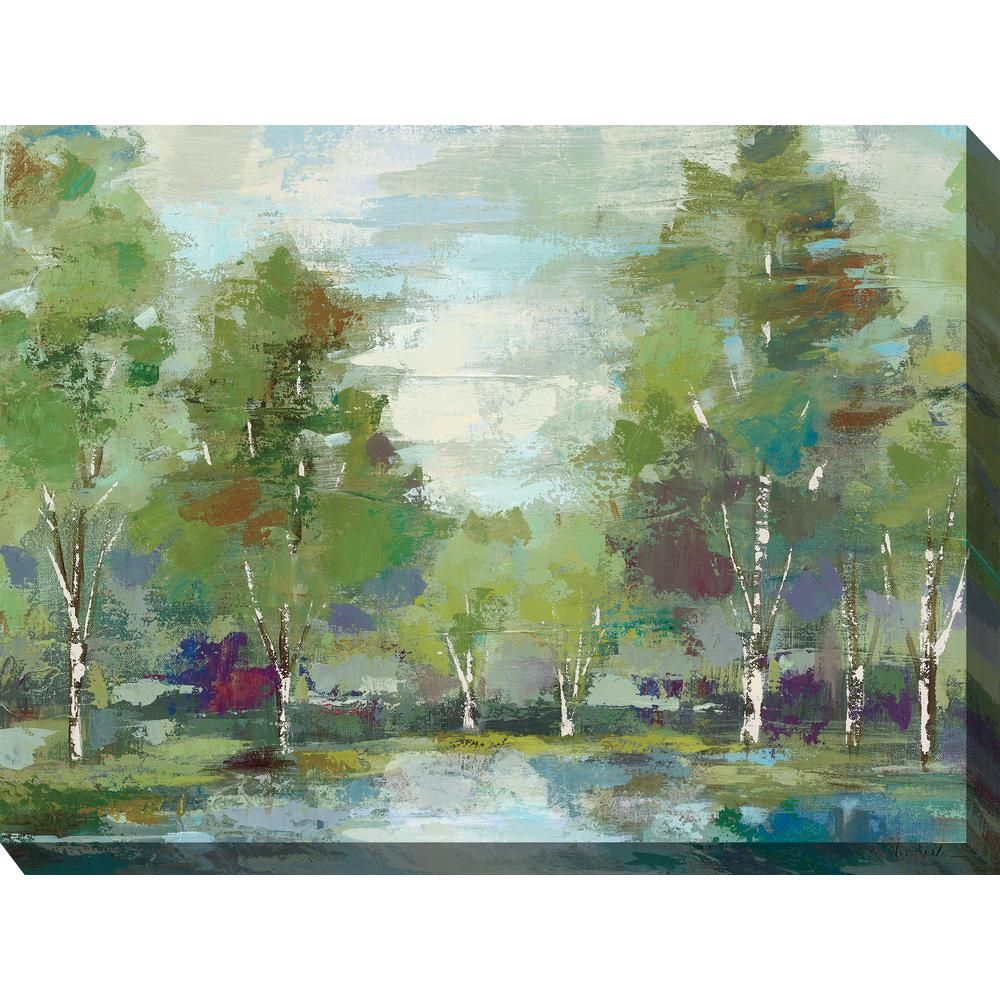 40 in x 30 in green earth outdoor canvas wall art