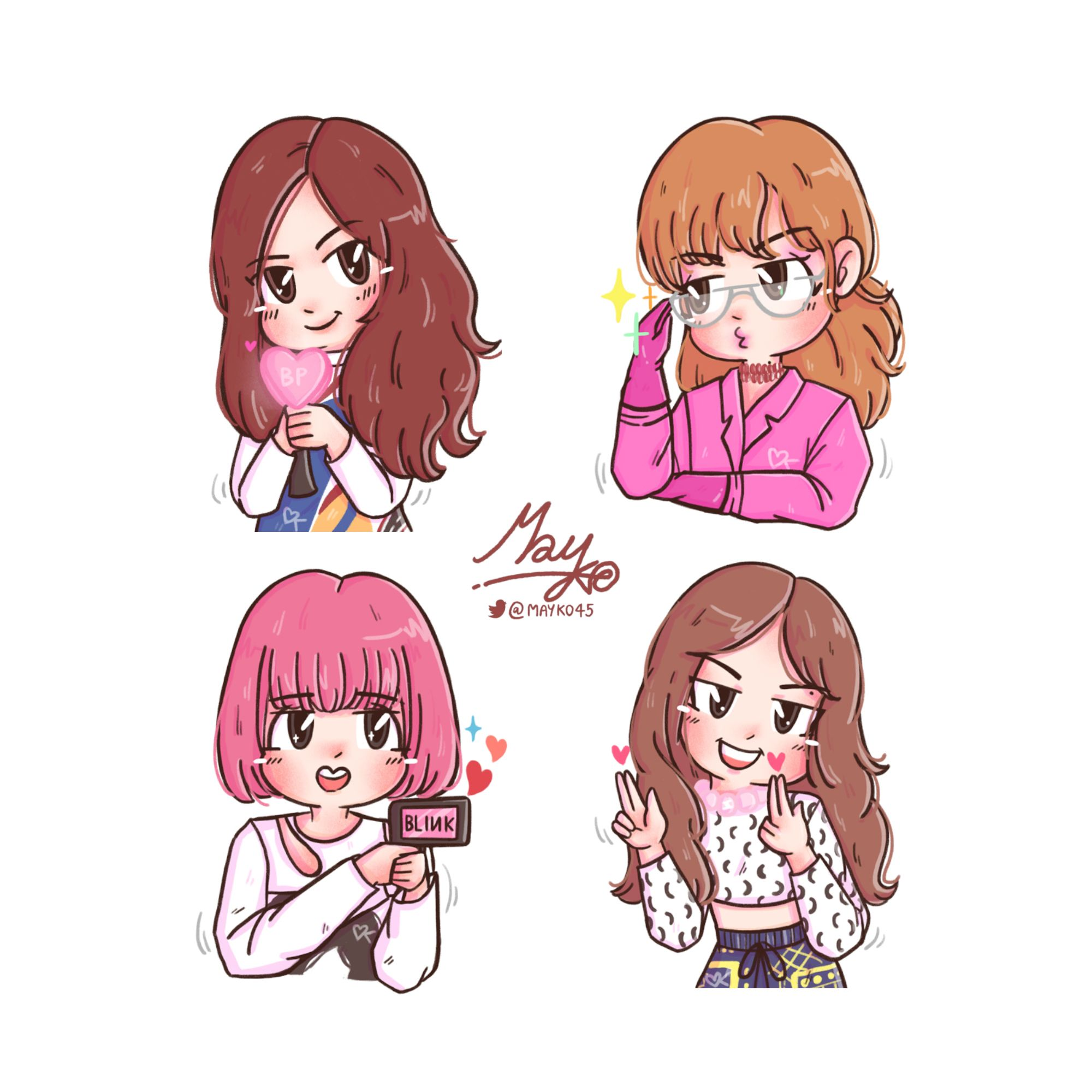 Cutie ♥ Blackpink Jisoo Jennie Rose Lisa ศิลปะ