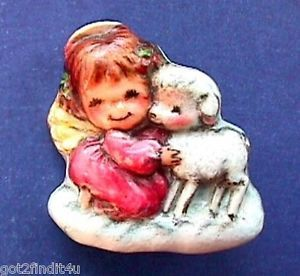 RARE Hallmark PIN Christmas MARY HAMILTON Angel Lamb 1970s ...