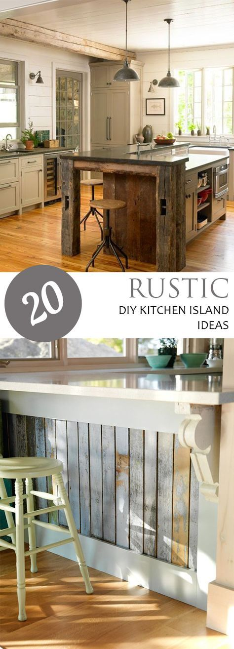 20 Rustic DIY Kitchen Island Ideas Kitchens, House and Kitchen decor