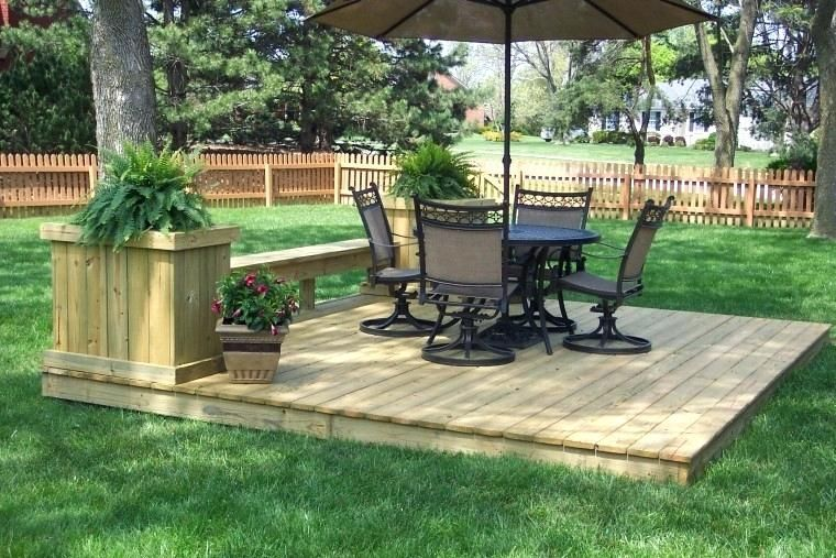 Image result for easy ground level deck | Building a floating deck, Patio deck designs, Decks backyard